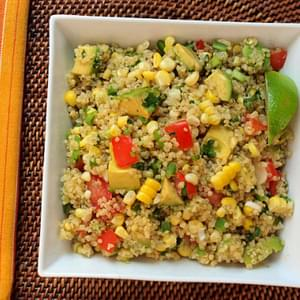 Quinoa Salad with Corn, Tomatoes, Avocado and Lime