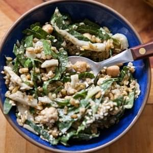 Mediterranean-Spiced Freekeh Salad with Collard Greens and Chickpeas
