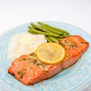 Baked Salmon with Garlic and Dijon