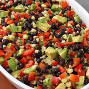 Black Bean Salad with Corn, Red Peppers and Avocado in a Lime-Cilantro Vinaigrette