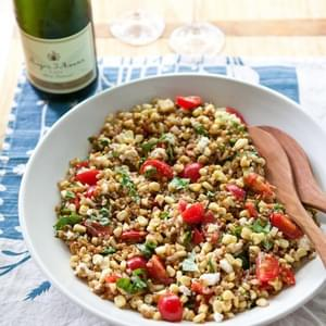 Wheat Berry Salad with Tomatoes, Corn and Basil