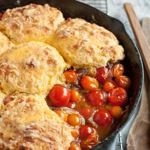 Tomato Cobbler with Cornmeal-Cheddar Biscuits