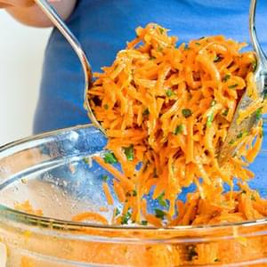 French Grated Carrot Salad with Lemon Dijon Vinaigrette