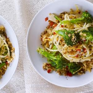 Chilli And Garlic Spaghetti With Lemon Crumbs