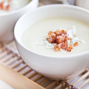 Creamy Cauliflower Soup with Bacon and Gorgonzola