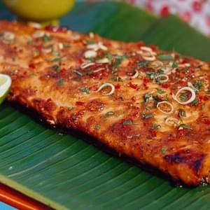 BBQ tamarind salmon with lemongrass, chilli and ginger