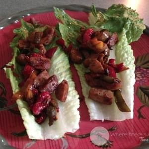 Chicken and Peppers Lettuce Cups