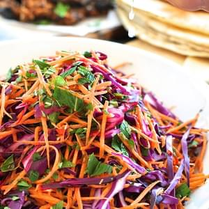 Shredded Red Cabbage, Carrot and Mint Salad