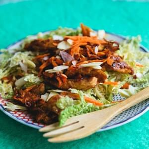 Sesame-Ginger Soy Curls with Napa Cabbage Salad