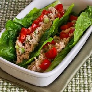 Tuna Salad Lettuce Wraps with Capers and Tomatoes