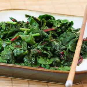 Spicy Stir-Fried Radish Greens and/or Swiss Chard
