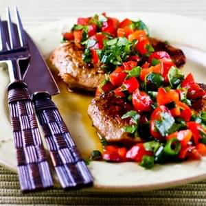 Creole-Seasoned and Pan-Fried Pork Cutlets with Tomato and Red Bell Pepper Salsa