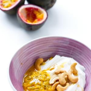 Passion Fruit Greek Yogurt with Cashews and Honey