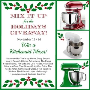 Raspberry Cranberry Sauce Recipe with a Kitchenaid Mixer Giveaway! Also a Tasty Progressive Thanksgiving Dinner with my Bloggy Friends!