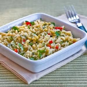Lemon Rice with Scallions, Red Bell Pepper, Cilantro, and Pine Nuts