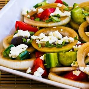 Greek Salad with Marinated Onions and Oregano