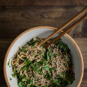Spinach Soba Bowl with Peanut Sauce