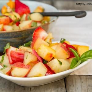 Peach, Nectarine, and Strawberry Fruit Salad with Lime Honey Basil Syrup