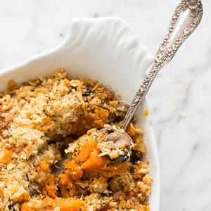 Sweet Potato, Mushroom, Leftover Turkey Casserole