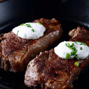 Pan Seared Steak with Creamy Herbed Horseradish Sauce