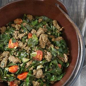 Kenyan Braised Collard Greens and Ground Beef