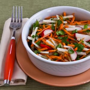 Jicama and Carrot Slaw with Radishes, Cilantro, and Cumin-Lime Vinaigrette