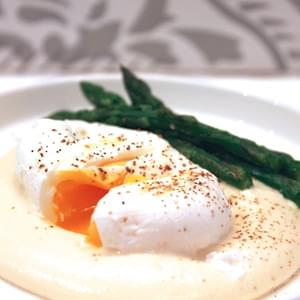 Asparagus with Poached Eggs on Parmesan Fondue