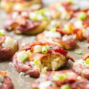 Smashed Potatoes with Blue Cheese and Bacon