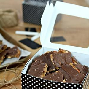 Salted Chocolate English Toffee with Toasted Almonds for a Homemade Father's Day Gift