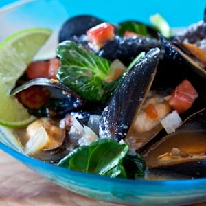 Spicy Steamed Mussels in Miso Broth
