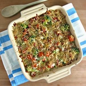 Blue Cheese Broccoli & Tomato Gratin with Prosciutto