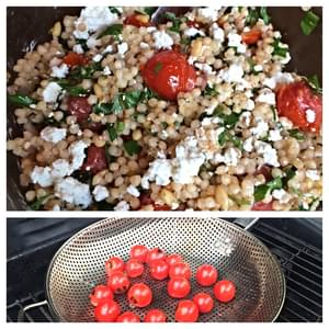 Grilled Tomato and Israeli Couscous Salad with Mint, Pine Nuts and Goat Cheese