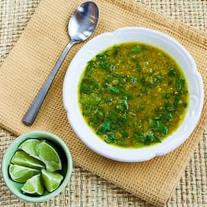 Indian-Spiced Slow Cooker Red Lentil Soup with Spinach and Coconut Milk