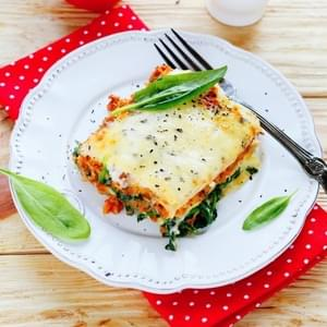 Slow Cooker Cheesy Spinach Lasagna