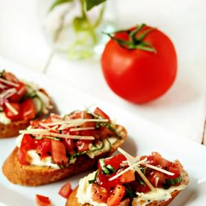 Roasted Garlic & Tomato Bruschetta