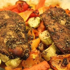 Roasted Garlic Balsamic Chicken and Vegetables