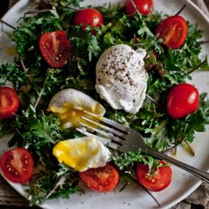 To Nourish and Satisfy [Breakfast Salad; Baby Kale, Flavorino Tomatoes, Poached Egg]