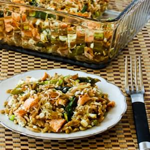 Whole Wheat Orzo Casserole with Salmon, Asparagus, and Feta