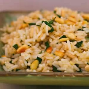 Basil and Parmesan Rice with Pine Nuts