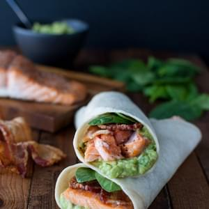 Salmon, Guacamole, and Bacon Wraps