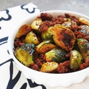 Caramelized Brussels Sprouts & Chorizo (Paleo)