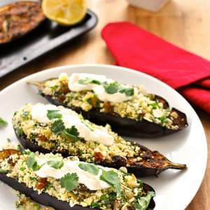 Middle Eastern Roasted Eggplant with Couscous