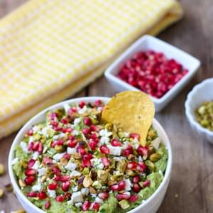 Guacamole with Feta, Pistachios, and Pomegranate Seeds