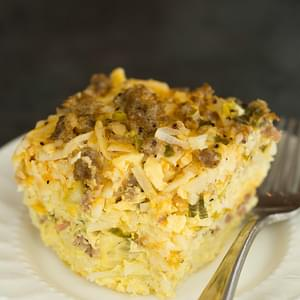 Slow Cooker Sausage, Hash Brown & Cheddar Breakfast Casserole
