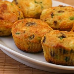 Cottage Cheese and Egg Breakfast Muffins with Mushrooms and Feta Cheese