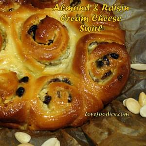 Almond & Raisin Cream Cheese Swirly Bread