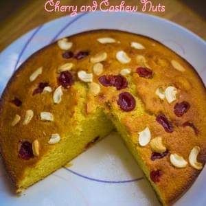 Basic Sponge Cake -With Cherries and Cashew Nuts