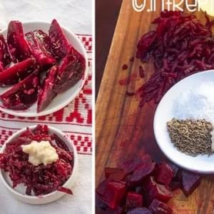 Beetroot salad with horseradish and cumin. Roasted beetroot salad.
