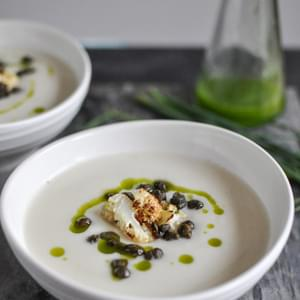 Creamy Cauliflower Soup with Crispy Capers and Chive Oil