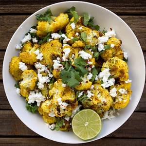Roasted Curry Cauliflower with Feta and Cilantro